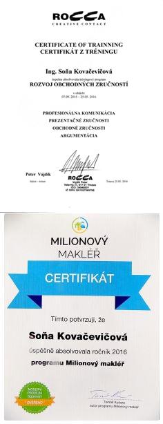 Certifikáty realitnej maklérky.